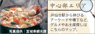 [中心部エリア]JR仙台駅から伸びるアーケードや横丁など、グルメやお土産探しはこちらのマップ。